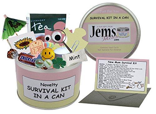 Überlebensset in einer Dose für zukünftige Mütter Humorvolles Geschenk–Werdende Eltern/Mutter. Geschenk zur Geburt mit Grußkarte. -, rosa / cremefarben, 10 x 6 cm