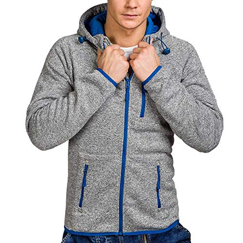 Xmiral Herren Pullover Mantel Herbst Winter Casual Reißverschluss Langarm Hooded Sweatshirt (L,Dunkelgrau)