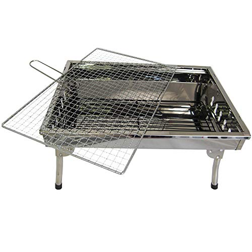 51QYtoLChvL - TMD-Line BBQ Holzkohlegrill 45 x 30cm Klappgrill Standgrill Tragbar Camping Garten Grill
