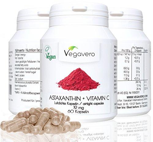 Natürliches Astaxanthin + Vitamin C | 12mg Astaxanthin pro Tagesdosis | 60 Kapseln | Hochwertiger Rohstoff (Haematococculs pulvialis) | vor Sauerstoff geschützte Kapseln (Coating) | Starke Antioxidantien | Vegan ohne Zusätze und Gelatine