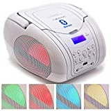 LAUSON CP456 Boombox Tragbarer Bluetooth Radio CD USB MP3 Radio mit Beleuchtung LED-Effekt (White)