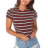 Zarupeng Frauen Gestreifte T-Shirt, Casual Rundkragen Kurzarm Bluse Patchwork Tops Rundhalsausschnitt Kurzarm Shirt Crop Top Kurz Slim Tank Tops (L, Mehrfarbig)