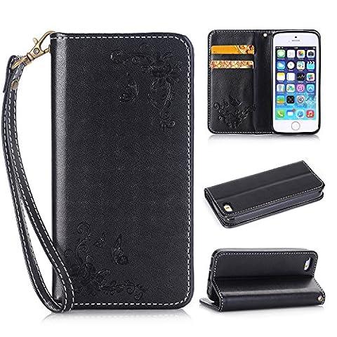 Lonchee Apple iPhone 4/4S Wallet Tasche Brieftasche Schutzhülle , geprägten Design Hochwertige PU Leder Folio Tasche Case Hülle im Bookstyle mit Standfunktion Kredit Kartenfächer