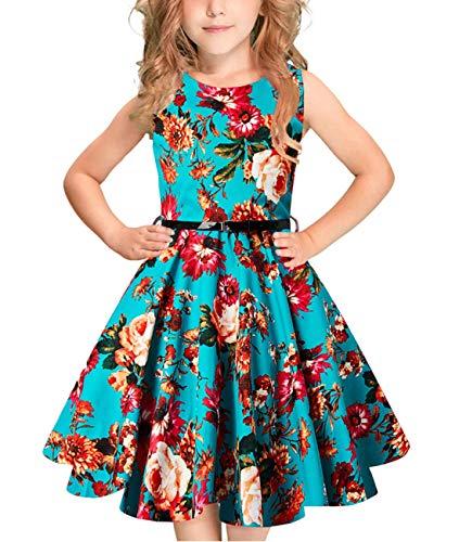 Idgreatim Mädchen Aermelloses Kleid 50er Jahre Vintage Swing Rockabilly Kleinkind Kleid Blumendruck Retro Party Kleider mit Gürtel (Kleinkind-kleid-kleider)