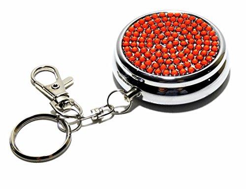 Luxus Taschenaschenbecher Reiseascher Aschenbecher für unterwegs silber Strass Steine Schlüsselanhänger (Rot)