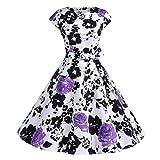 TWIFER Damen Vintage Floral Bodycon Abendkleid ärmelloses Party Prom Swing Kleid (L, C-Lila)
