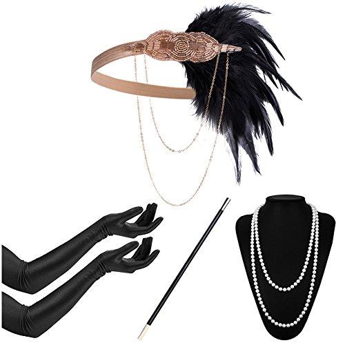 er Damen Accessoires Set Inklusive Halskette Handschuhe Zigarettenhalter Stirnband 20er Jahre 1920s Charleston Gatsby Retro Kostüm (#9) (20's Gatsby Kostüm)
