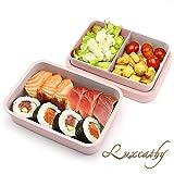 Luxcathy natürliche Bambusfaser-luftdichte auslaufsichere 2-Schicht-Lunchbox für Erwachsene oder Kinder (Pink, 800 - 1000ML)