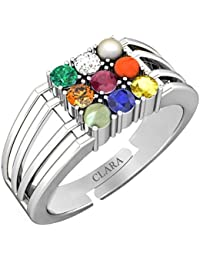 Clara 92.5 Sterling Silver Natural Certified Navratna Stone Nine Planets Adjustable Ring for Men and Boys