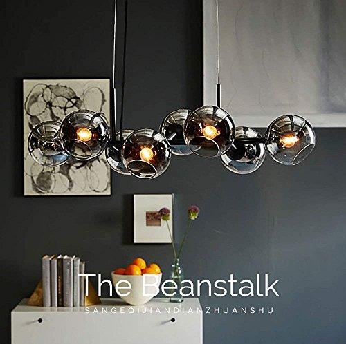 ZMH LED Pendelleuchte esstisch Hängeleuchte mit 8-Flammig Glas Kugel Leuchte Pendellampe Esszimmerlampe Hängellampe Wohnzimmerlampe Schlafzimmerleuchte Innenleuchte (Rauchgrau)
