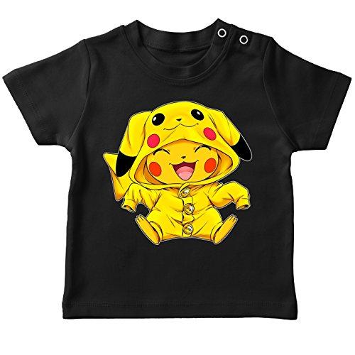 Pokémon Lustiges Schwarz Baby T-Shirt - Pikachu (Pokémon Parodie) (Ref:881)