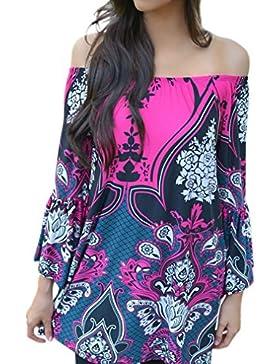 Honghu Donna Sexy Comfort Spiaggia Wear Manica Lunga Estate Vestito Corto Camicette