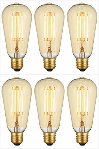 LED-Leuchtmittel, 4W, langer Glühfaden, E27, Edison-Stil, 2200 K, Warmweiß, E27 4.0 wattsW