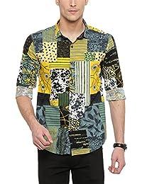 SHOWOFF Mens Yellow Printed Casual Shirt