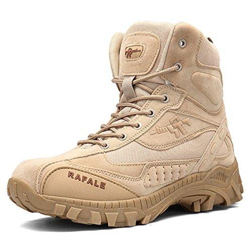 SANANG Herren Mid High Militär Schnürstiefel Durable Army Combat Schuhe Atmungsaktiv Taktische Wüste Wandern Boot (43 EU, Sand) Army Herren-leder