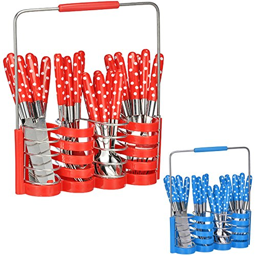 Besteck-Set im Besteckkorb 24 teilig in rot oder blau, Edelstahl mit Kunststoffgriffen • Besteckset 6 Personen Besteck Campingbesteck Camping Geschirr Teile