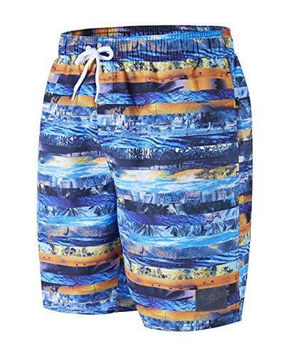 Speedo Herren Printed Leisure Watershorts, Denim Blue/Marmalade, XL/18 Zoll (Fade Denim Bekleidung)