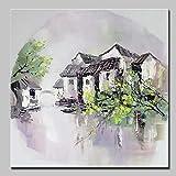 WDQTDY Hand gezeichnet Mintura Kunst Handgemalte Blume Ölgemälde auf Leinwand Moderne Abstrakte Blumen Bild Wandgemälde Für Wohnzimmer Wohnkultur,130x130cm(52x52inch) MT161058 Mit Gerahmten
