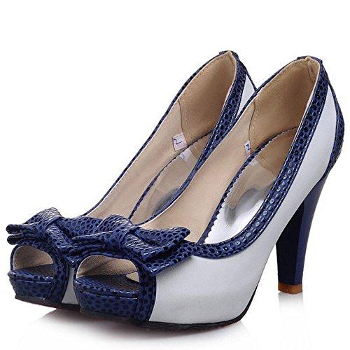 TAOFFEN Femme Confort Talon Haut Peep Toe Sandales A Enfiler Bureau Chaussures Avec Bowknot Blanc