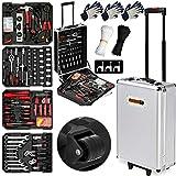 Monzana Werkzeugkoffer XXL gefüllt Set 899tlg | Qualitätswerkzeug - Werkzeugkasten Werkzeugkiste Werkzeugtrolley silber