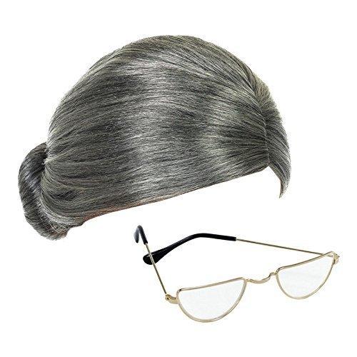 Alte Oma Kostüm - Grau Oma Perücke und Halbmond Brillen Fräulein Claus Maskenkostüm Zubehör