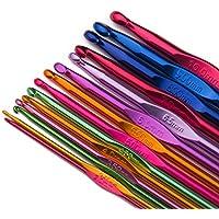 Luxbon 14 Stück Häkelnadel Set Crochet Hooks Stricknadeln aus bunt Aluminium 14 Größen 2mm-10mm Stricken Werkzeuge Zubehör