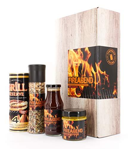 FIREABEND - Das Geschenk-Set zum Grillen und Chillen (Rostbratwürste, BBQ Sauce, Honig-Senf und scharfe Gewürzmischung)
