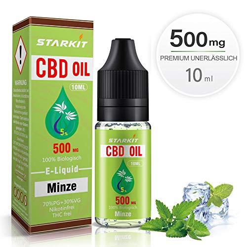 STARKIT® CBD Liquids 500mg, Vape Öl 10ml mit 5{8000864bb9d43bd3b051872aa2ee5be251385a81841919175de0caba028cfd0e} Cannabidiol Hanf Öl für E Zigaretten Starter Set SMOK E Shisha, PG70/VG30 E Liquid, ohne Nikotin, ohne THC, Minze Geschmack (Minze, 500mg)