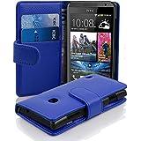 Cadorabo - Funda HTC DESIRE 300 Book Style de Cuero Sintético en Diseño Libro - Etui Case Cover Carcasa Caja Protección con Tarjetero en AZUL-REAL
