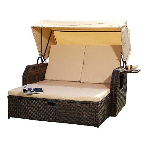Melko® Sonnenbett/Strandkorb/Lounge aus Polyrattan, Braun, inkl. klappbaren Seitentisch +verstellerbarer Rückenlehne + Faltbare Sonnenschutzdach