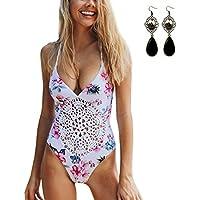 Sitengle Donna Costumi Interi Uncinetto Push up Stampato Floreale Modello Openwork Halterneck Costumi da Bagno (Billabong Ragazze Bikini Top)