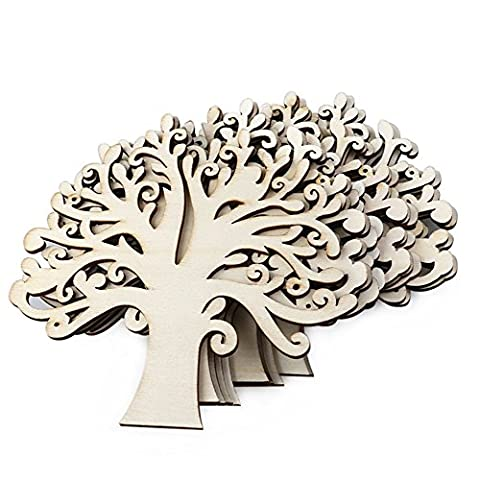 Qingsun 10 Pcs Natural Wooden Tree Shape Craft Embellishments Decoration DIY Arts Crafts Making
