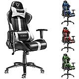Diablo X-Player siège gaming, fauteuil gamer, chaise de bureau avec accoudoirs (noir-blanc)