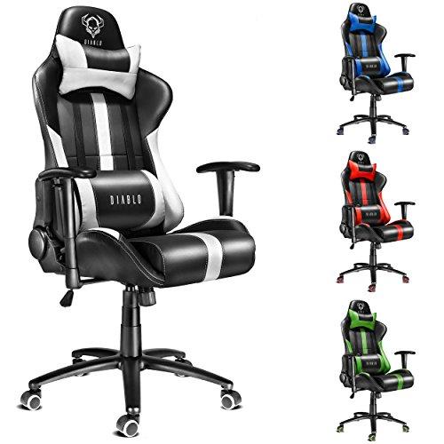 Diablo X-Player silla de oficino silla con reposabrazo, silla de escritorio, silla de gaming (negro-blanco)