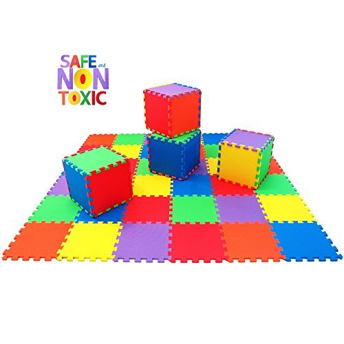 non toxic extra thick 36 piece children play mat comfortable cushiony foam floor puzzle mat, 6 vibrant colors Non Toxic Extra Thick 36 Piece Children Play Mat Comfortable Cushiony Foam Floor Puzzle Mat, 6 Vibrant Colors 51QZ2NT FIL