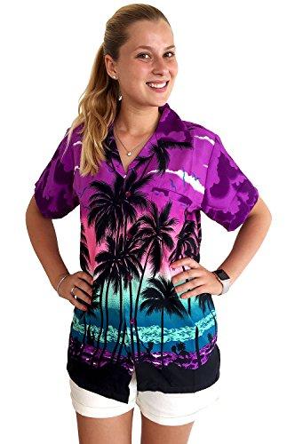 V.H.O. Funky Hawaiihemd Hawaiibluse, Beach, Violett, 6XL