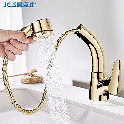 MEIBATH Waschtischarmatur Badezimmer Waschbecken Wasserhahn Küchenarmaturen Gold Pull-Out-warmes und Kaltes Wasser Vergoldeten Ausziehbar schwenkbar Küchen Wasserhahn Badarmatur