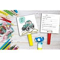 Traktor - Einladung Kindergeburtstag inkl. Party Tröte
