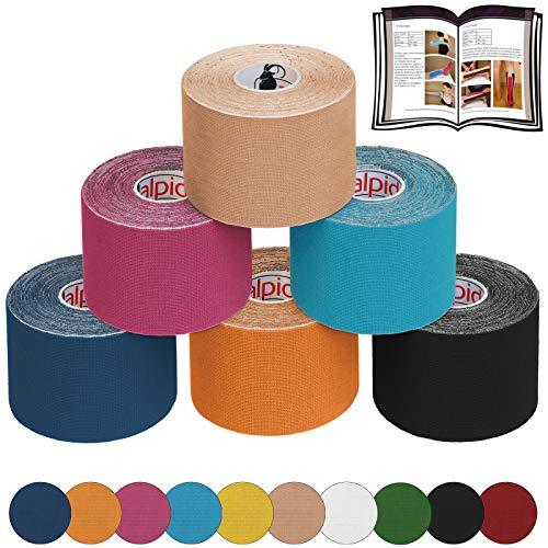 ALPIDEX 6 Rollen Kinesiologie Tape 5 m x 5 cm E-Book Anwendungsbroschüre Elastisches Tape Set, Farbe:bunt