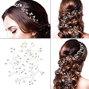 Bridal Wedding Headband - Bridal Wedding Headdress Sliver Pearl Hair Band Vintage Style For Women On Wedding Party Or Casual