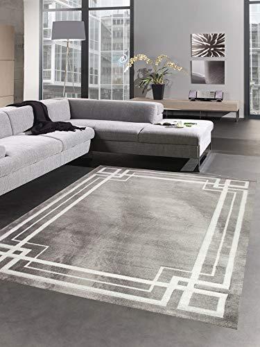 CARPETIA Teppich Wohnzimmerteppich mit Konturenschnitt in Grau Creme Größe 80x150 cm