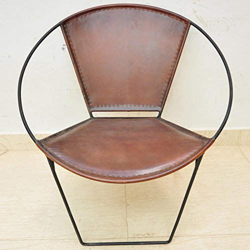 Upper-Chair Aged Chair Handmade Leather Industrial Iron round Tub Dining Cafe Chair Seat Bistro Chair