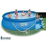Intex 56409Easy Set Pool, Filterpumpe, Leiter, Plane Base, abgedeckt und Skimmer, blau