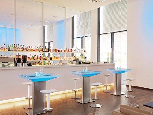 moree LED Lounge Tisch Studio LED Pro Accu 105 Weiß Edelstahl IP20 | LEDs fest verbaut 13W 234lm...