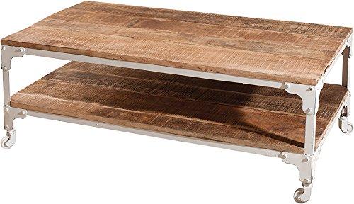 Macabane Table Basse Industrielle Double Plateau, Bois, Bois / Blanc, 110,5 x 60,5 x 42 cm