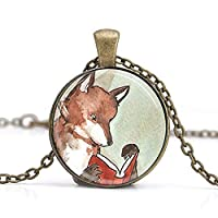 xinzhahi Fox Necklace,Woodland Creature Reading Fox Books Fairy Tales