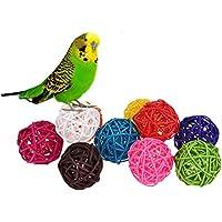 10 Rattan Kugeln Bird Toy DIY Zubehör Spielzeug für Papageien Wellensittiche Sittiche Nymphensittiche Sittiche Unzertrennliche Aras African Greys Kakadu Amazon Käfig Teil zufällige Farbe