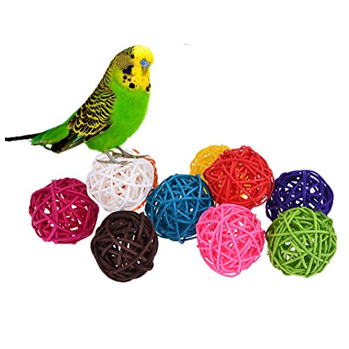 10pcs Rattan Ball Bird Toy DIY Accessory Toy for Parrot Budgie Parakeet Cockatiel Conure Lovebird Macaw African Grey Cockatoo Amazon Cage Part Random Color