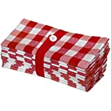 Gingham Checks - Red : Cotton Craft 12 Pack Gingham Checks Oversized Dinner Napkins - Red - Size 20x20 - 100% Cotton - Tailored With Mitered Corners And A Generous Hem - Easy Care Machine Wash