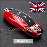 Bright Red Key Cover For Porsche Remote Case Shell Housing Side Painted Trim Boxster Carrera Cayenne Cayman Macan Panamera Spyder 981 718 991 918 911 GTS S PDK D TD Turbo TDI GT4 4S V6 V8 2.0 2.7 3.0 3.4 3.6 3.8 4.1 4.2 4.8 24v Platinum Edition Tiptronic Hybrid AWD Hatchback Coupe Estate Cabriolet Convertible Petrol Diesel 2d 5d Automatic Manual Semi Auto (Bright Red)
